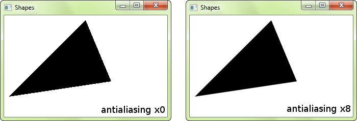 Aliased vs Antialiased Shape